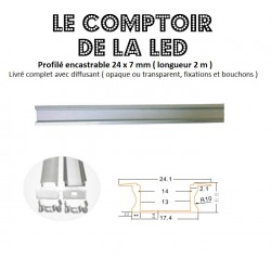 PROFILE ALUMINIUM POUR RUBAN LED ENCASTRABLE