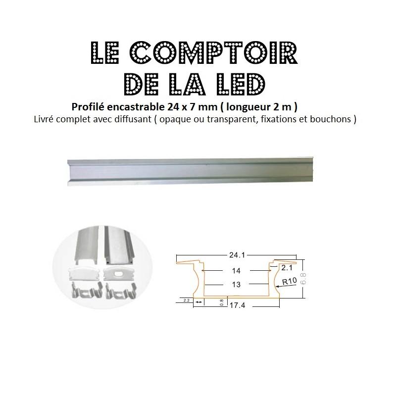 PROFILE ALUMINIUM POUR RUBAN LED ENCASTRABLE